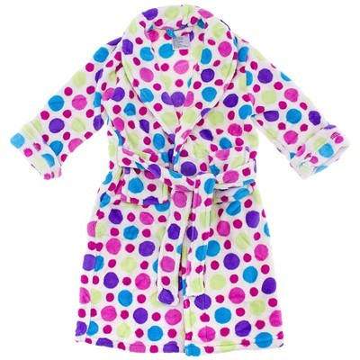 White Polka Dot Plush Bath Robe for Girls