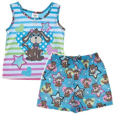 Blue Puppy Shorty Pajamas for Girls