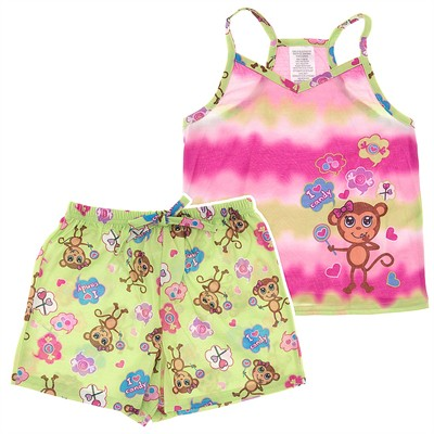 Green Monkey Shorty Pajamas for Girls