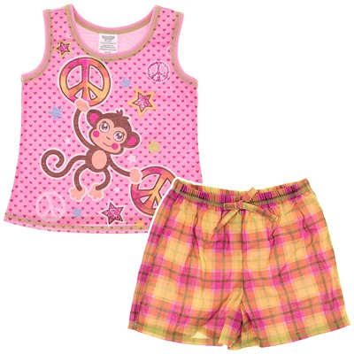 Pink Monkey Shorty Pajamas for Girls