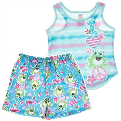 Blue Frog Shorty Pajamas for Girls