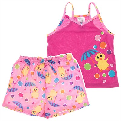Pink Duck Shorty Pajamas for Girls