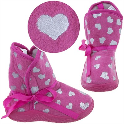 Hot Pink Heart Bootie Slippers for Toddler Girls