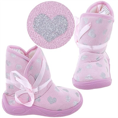 Light Pink Heart Bootie Slippers for Toddler Girls