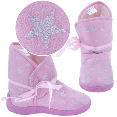 Light Pink Star Bootie Slippers for Toddler Girls