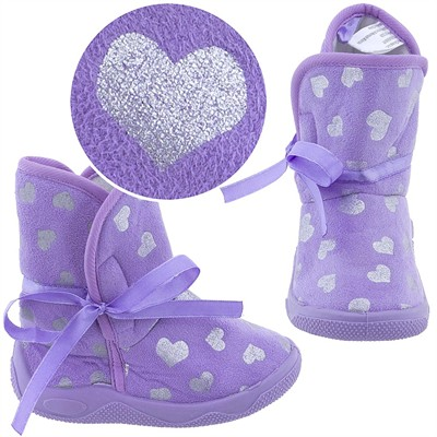 Purple Heart Bootie Slippers for Toddler Girls