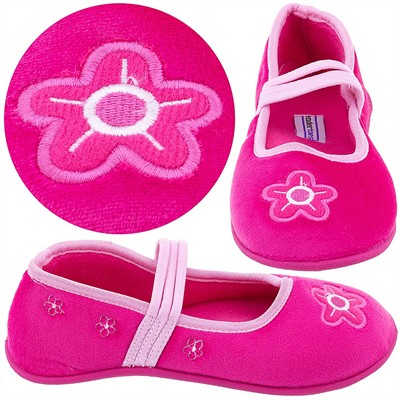 Dark Pink Floral Slippers for Toddlers and Girls