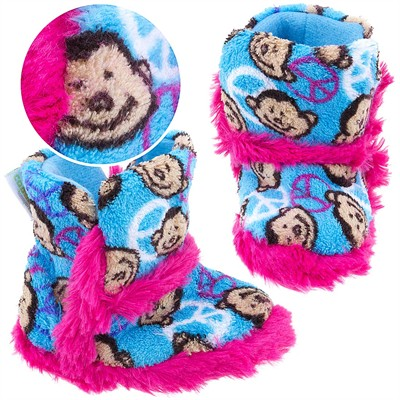 Peace Monkey Bootie Style Slippers for Toddler Girls