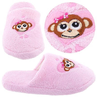 Pale Pink Monkey Slippers for Girls