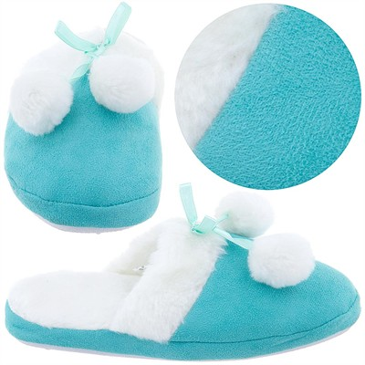 Turquoise Slippers with White Trim for Girls