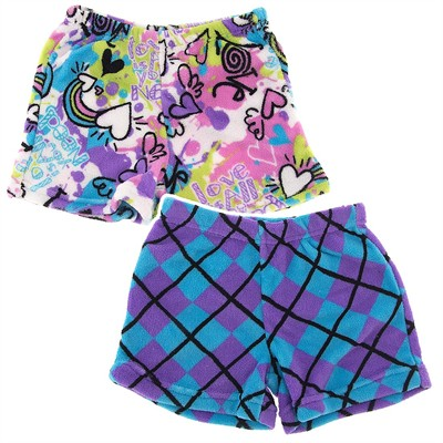 Fancy Girlz Graffiti Argyle Two Plush Pajama Shorts for Girls