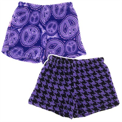 Fancy Girlz Peace Houndstooth Two Plush Pajama Shorts for Girls