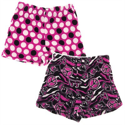 Fancy Girlz Peace Polka Dot Two Plush Pajama Shorts for Girls