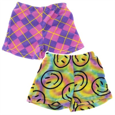 Fancy Girlz Smile Argyle Two Plush Pajama Shorts for Girls