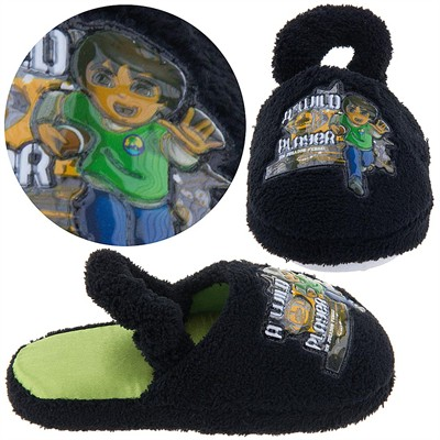 Go Diego Go Black Toddler Slippers for Boys