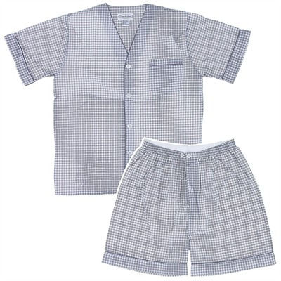 Gray and White Plaid Short Pajamas for Men