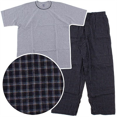 Gray Knit and Black Flannel Pajama Set for Men