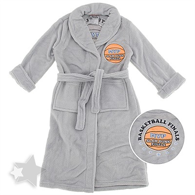 Heather Gray Plush MVP Slam Dunk Bath Robe for Boys