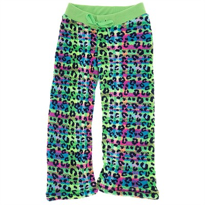 Green Leopard Fleece Pajama Bottoms for Girls