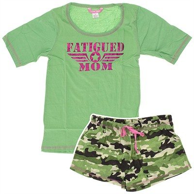 Green Fatigued Mom Pajama Set for Women