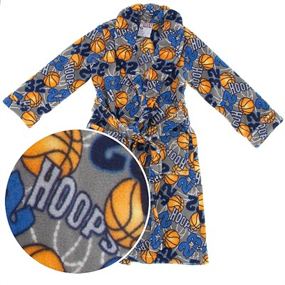 Gray Hoops Sports Plush Bath Robe for Boys