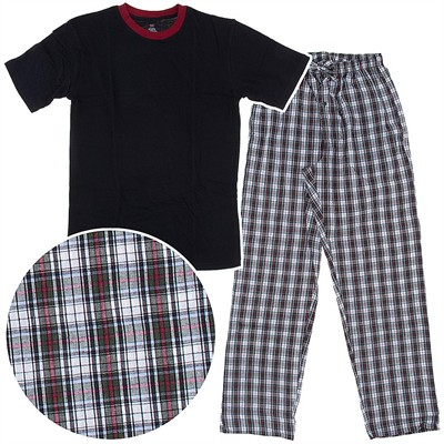 Hanes Black and White Woven Plaid Pajama Set with Knit Top for Men