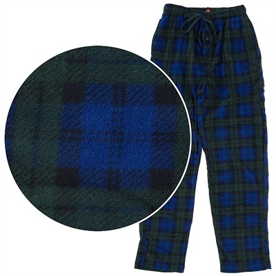Hanes Blue and Green Plaid Fleece Pajama Pants for Men