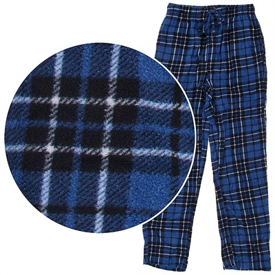Hanes Blue Plaid Fleece Pajama Pants for Men