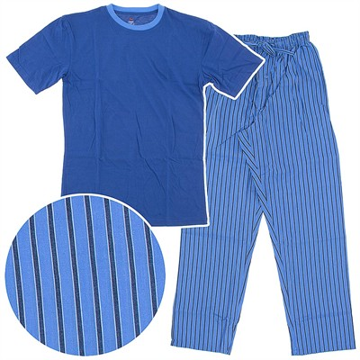 Hanes Blue Striped Woven Plaid Pajama Set with Knit Top for Men
