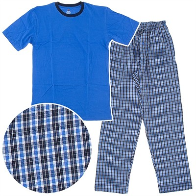 Hanes Blue Woven Plaid Pajama Set with Knit Top for Men