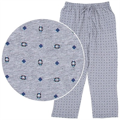 Hanes Gray Diamond Print Cotton Knit Pajama Pants for Men