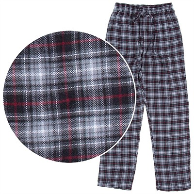 Hanes Gray and Red Plaid Flannel Pajama Pants for Men