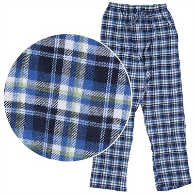 Hanes Blue and Olive Plaid Flannel Pajama Pants for Men