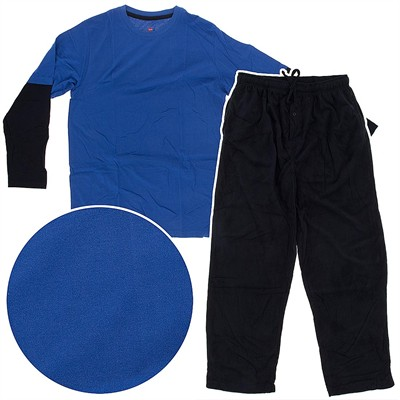 Hanes Blue and Black Fleece Pajama Set for Men