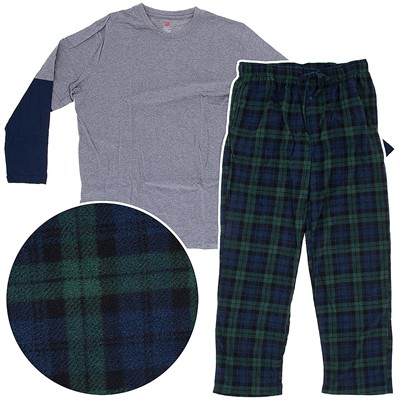 Hanes Blackwatch and Gray Fleece Pajama Set for Men