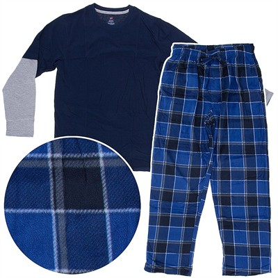 Hanes Blue and Navy Fleece Pajama Set for Men