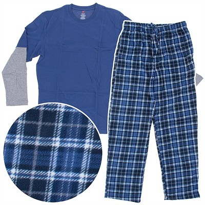 Hanes Blue Plaid Fleece Pajama Set for Men
