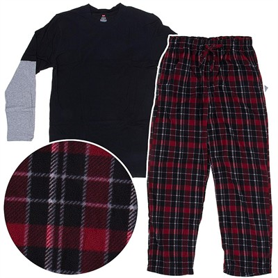 Hanes Dark Red Fleece Pajama Set for Men