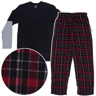 Hanes Dark Red Fleece Pajama Set for Men