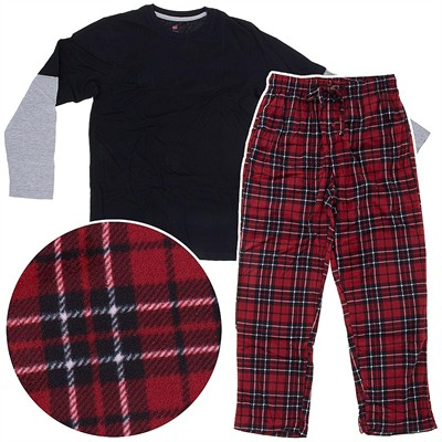 Hanes Red Fleece Pajama Set for Men