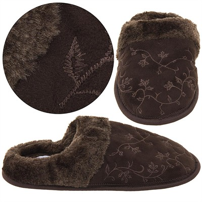 Harve Benard Brown Embroidered Slippers for Women