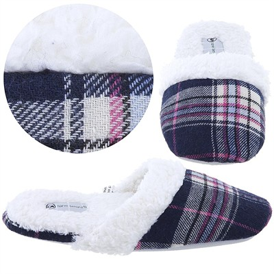 Harve Benard Navy Plaid Slippers for Women