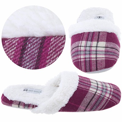 Harve Benard Dark Pink Plaid Slippers for Women