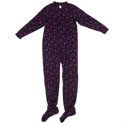 Hello Kitty Black Glow Footed Pajamas for Women