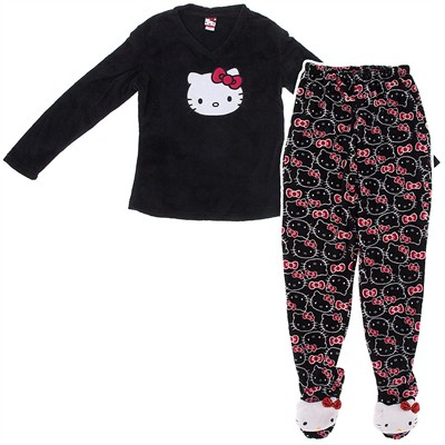 Hello Kitty Black Two-Piece Footed Pajamas