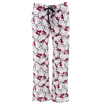 Hello Kitty White Cotton Pajama Pants for Juniors