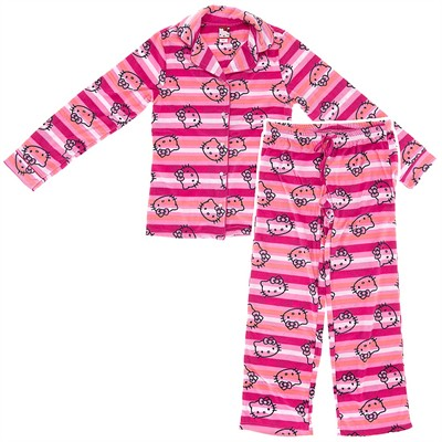 Hello Kitty Pink Striped Fleece Pajamas for Juniors
