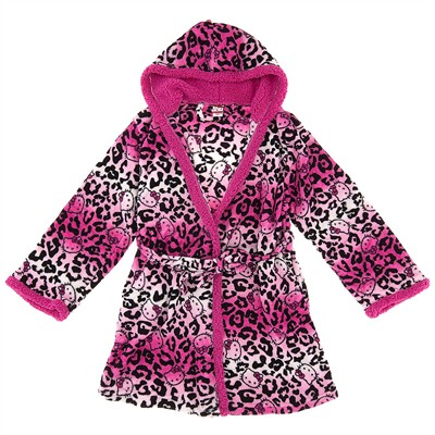 Hello Kitty Leopard Hooded Bath Robe for Women
