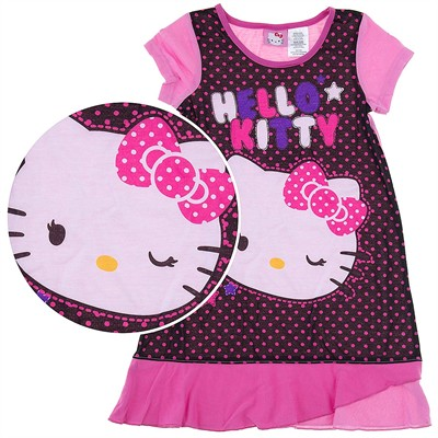 Hello Kitty Pink and Black Nightgown for Girls