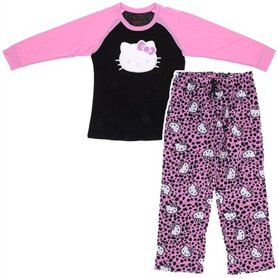 Hello Kitty Pink and Black Pajamas for Women